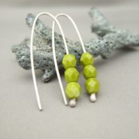 Pea Green Chartreuse Czech Glass and Sterling Silver Earrings