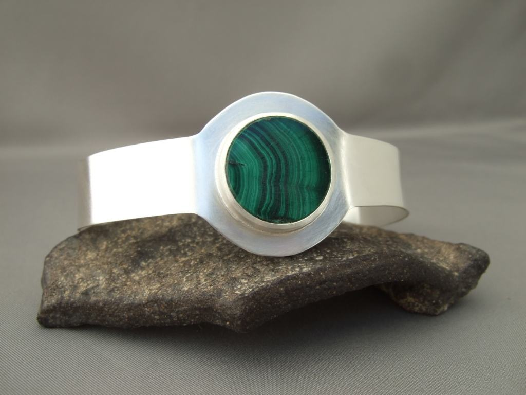 Malachite and Sterling Silver Cuff Bracelet