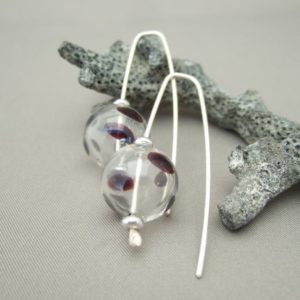 Mulberry Splash Handblown Glass Bubble and Sterling Silver Earrings