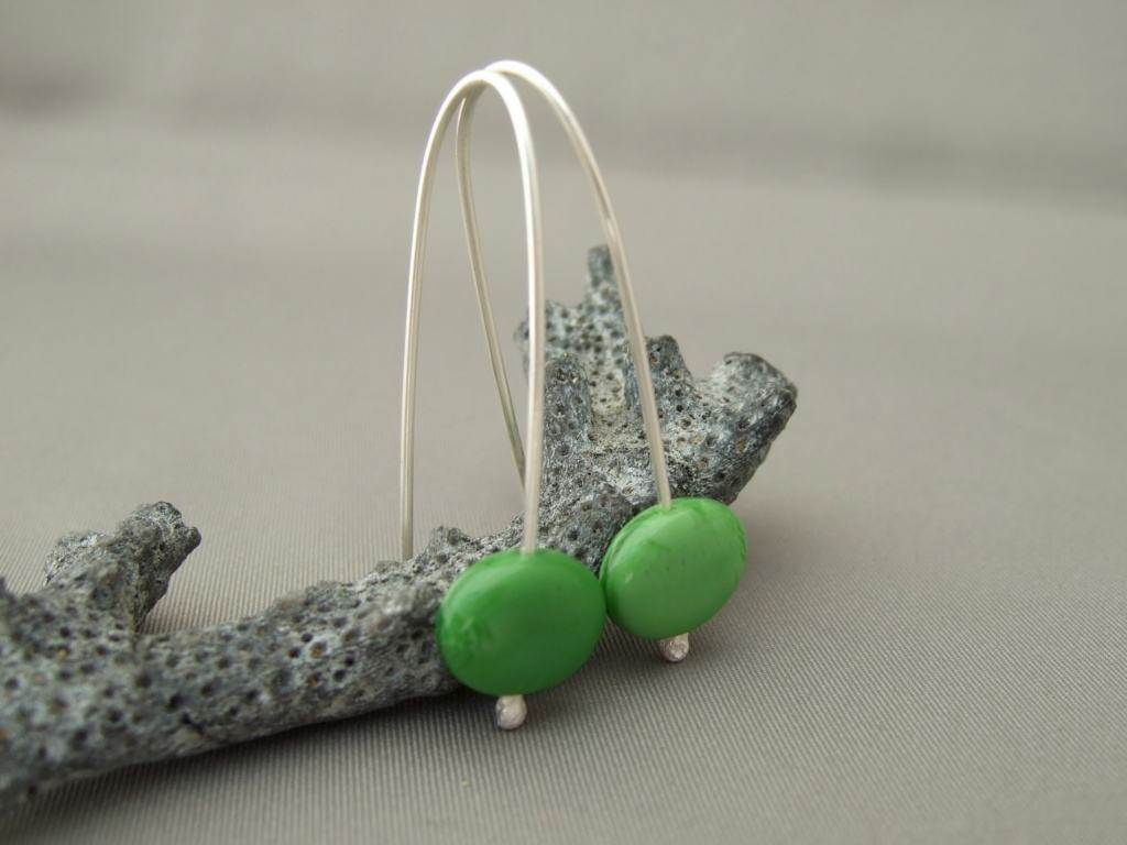 Asparagus Green Oval Czech Glass and Sterling Silver Dangle Earrings