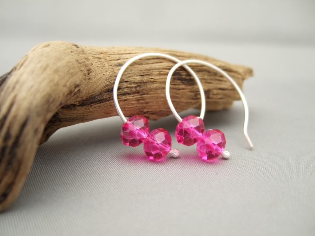 Fuchsia Pink Czech Glass Sterling Silver Modern Simple Hoop Earrings