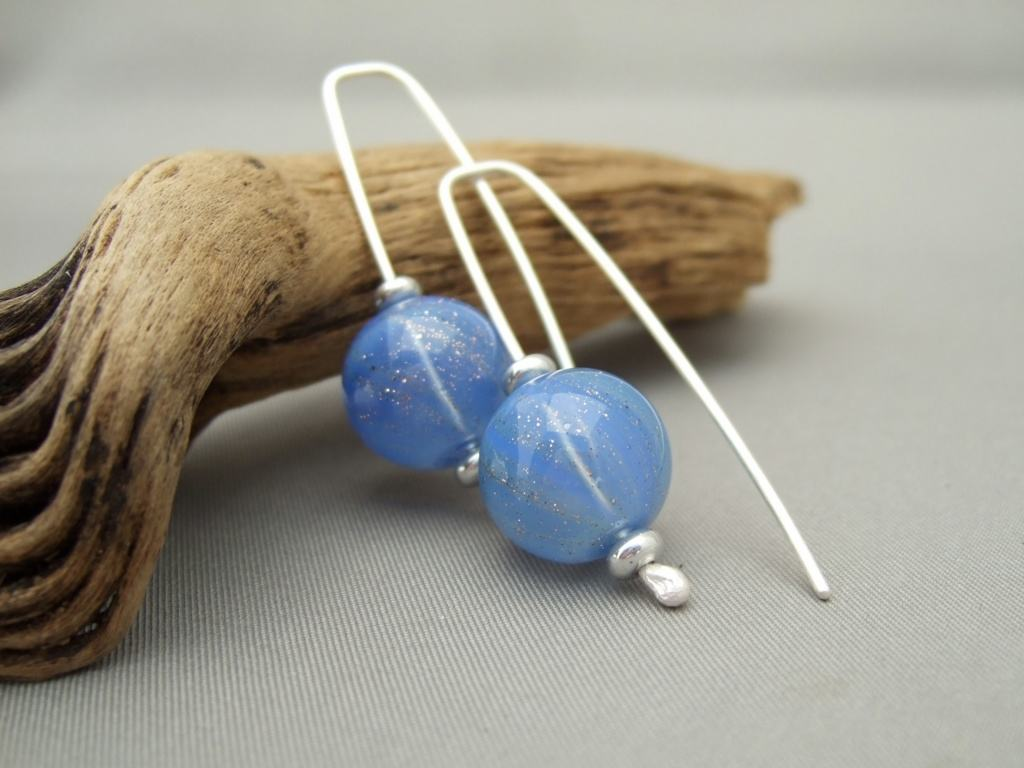 Blue Sparkles Handblown Glass Bubble and Sterling Silver Earrings