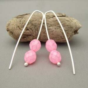 Fairyfloss Pink Czech Glass Sterling Silver Modern Contemporary Drop Earrings