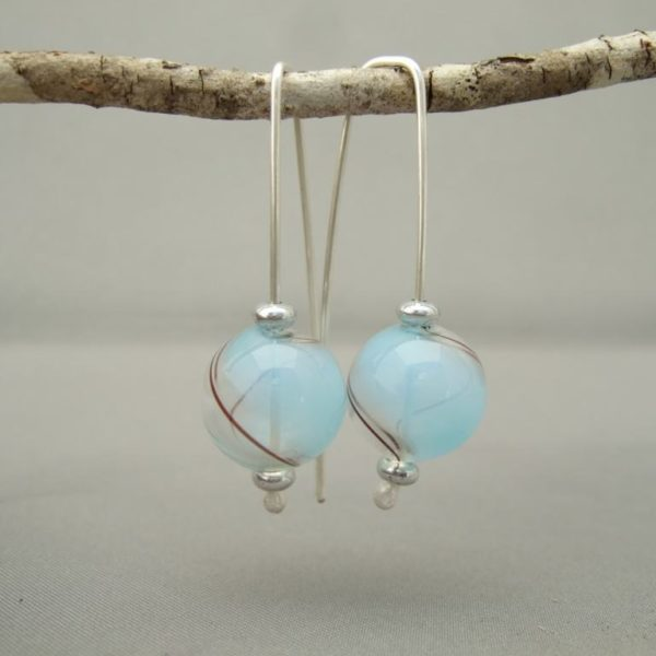 Blue and Brown Swirl Handblown Glass Bubble and Sterling Silver Earrings