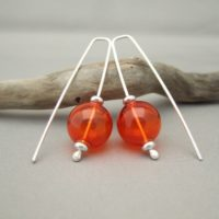 Fanta Orange Handblown Glass Bubble and Sterling Silver Earrings