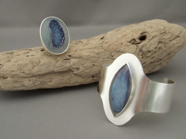 Bluebell Mauve Matching Drusy Agate and Sterling Silver Ring and Cuff