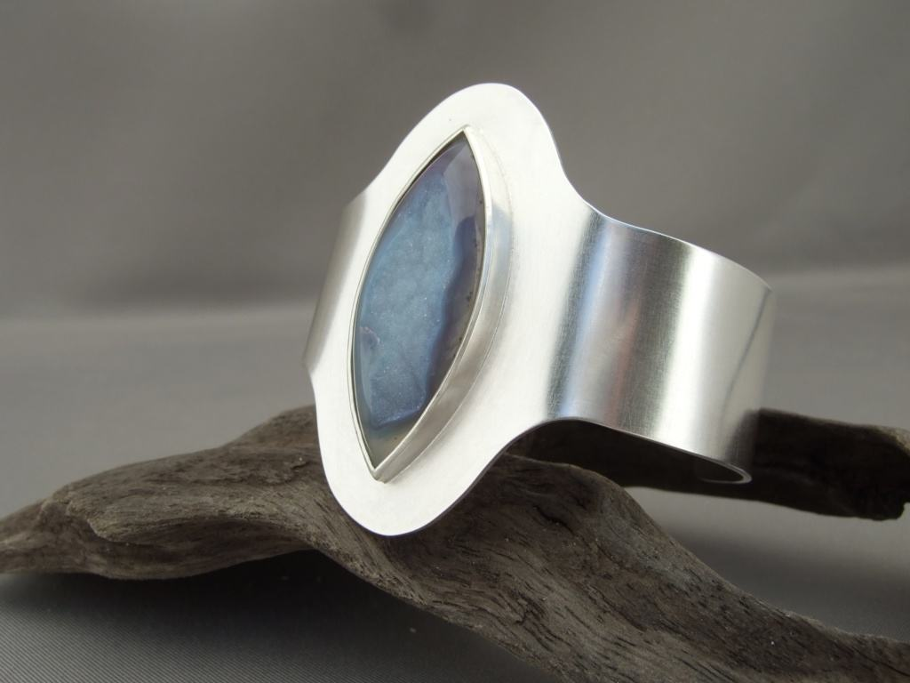 Mauve Drusy Agate and Sterling Silver Cuff
