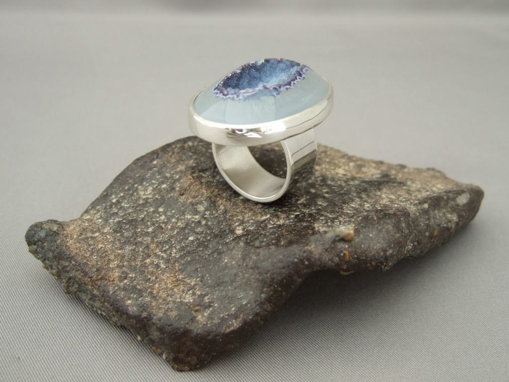 Bluebell Drusy Agate and Sterling Silver Ring
