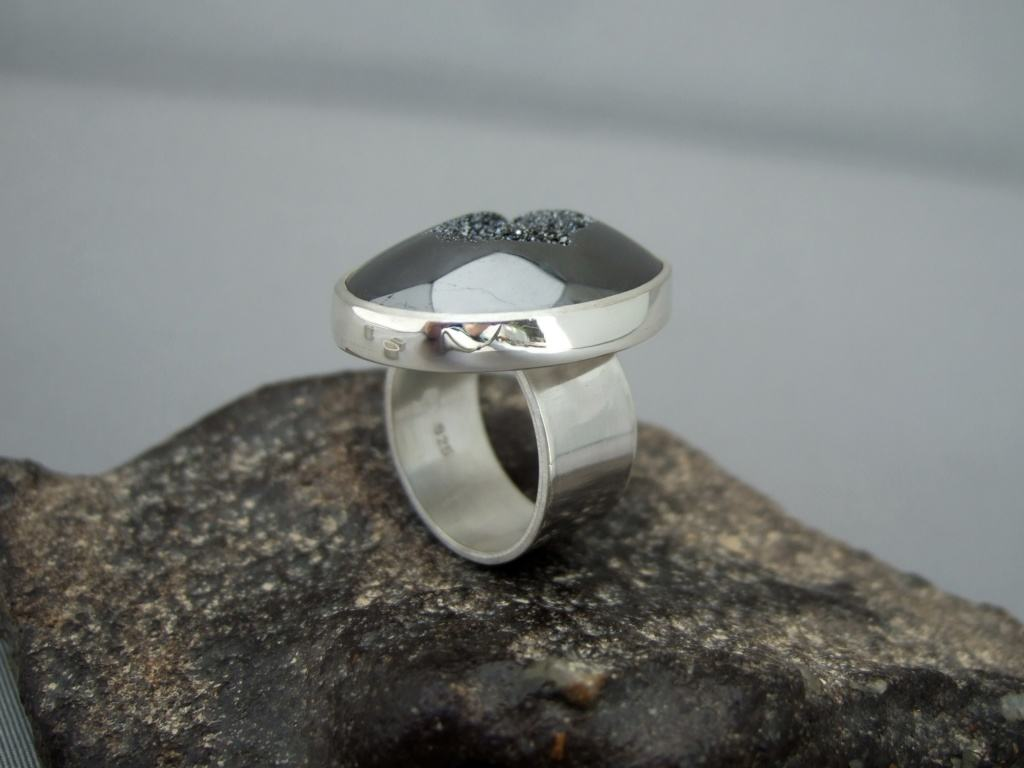 Black Titanium Drusy Agate and Sterling Silver Ring