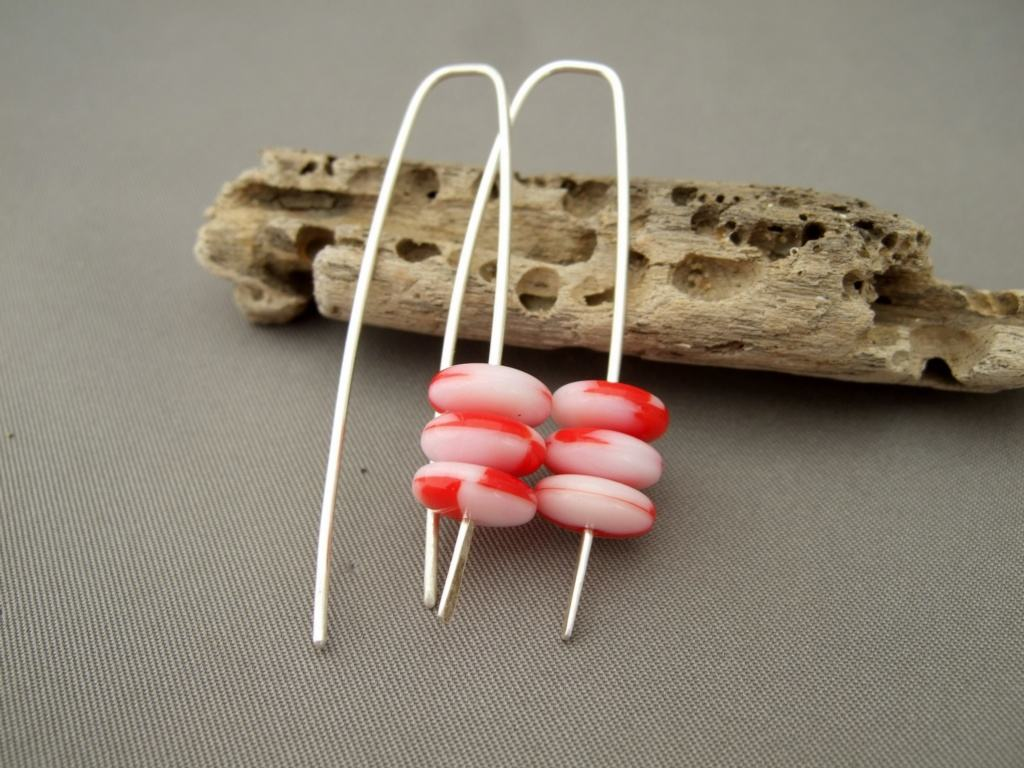 Christmas Red Candy Cane Czech Glass Stacked Sterling Silver Dangle Earrings
