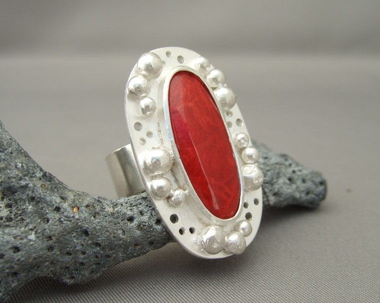Coral and Granulation Sterling Silver Ring