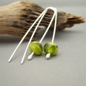 Lime Green Swirl and Sterling Silver Czech Glass Dangle Earrings