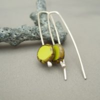 Sulphur Spring Green Coin Czech Glass and Sterling Silver Dangle Earrings