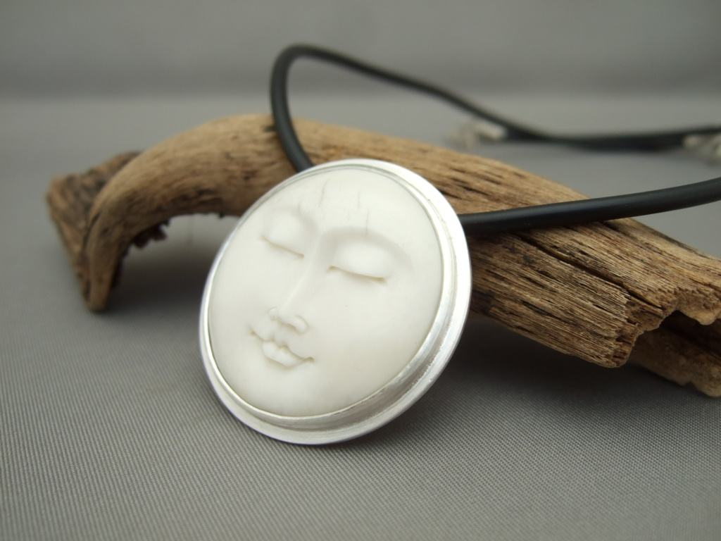 Hueso and Sterling Silver Pendant