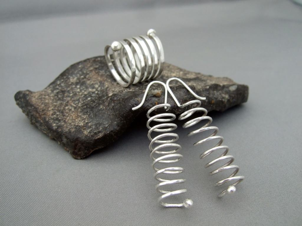 Sterling Silver Spiral Ring and Earrings Set