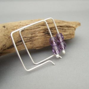 Purple Lavender Square Hoop Sterling Silver Czech Glass Simple Modern Earrings