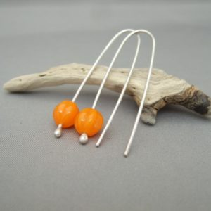 Orange Melon Czech Glass and Sterling Silver Dangle Earrings