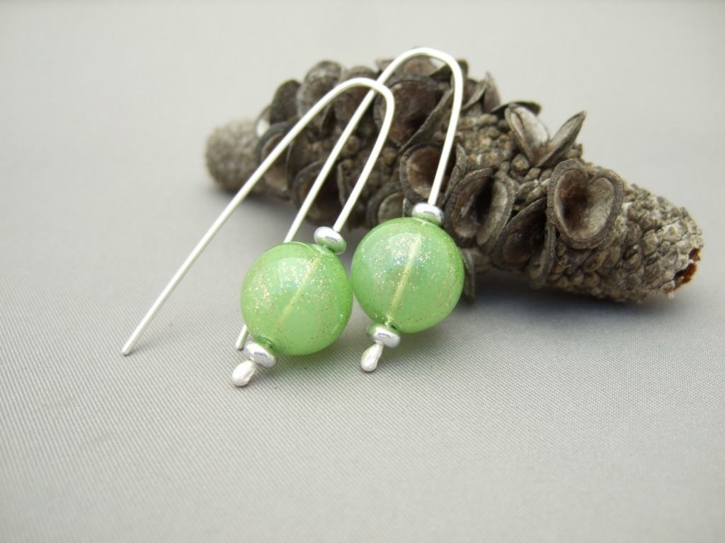 Sparkly Green Handblown Glass Bubble and Sterling Silver Earrings