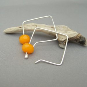Persimmon Orange Square Hoop Czech Glass and Sterling Silver Earrings