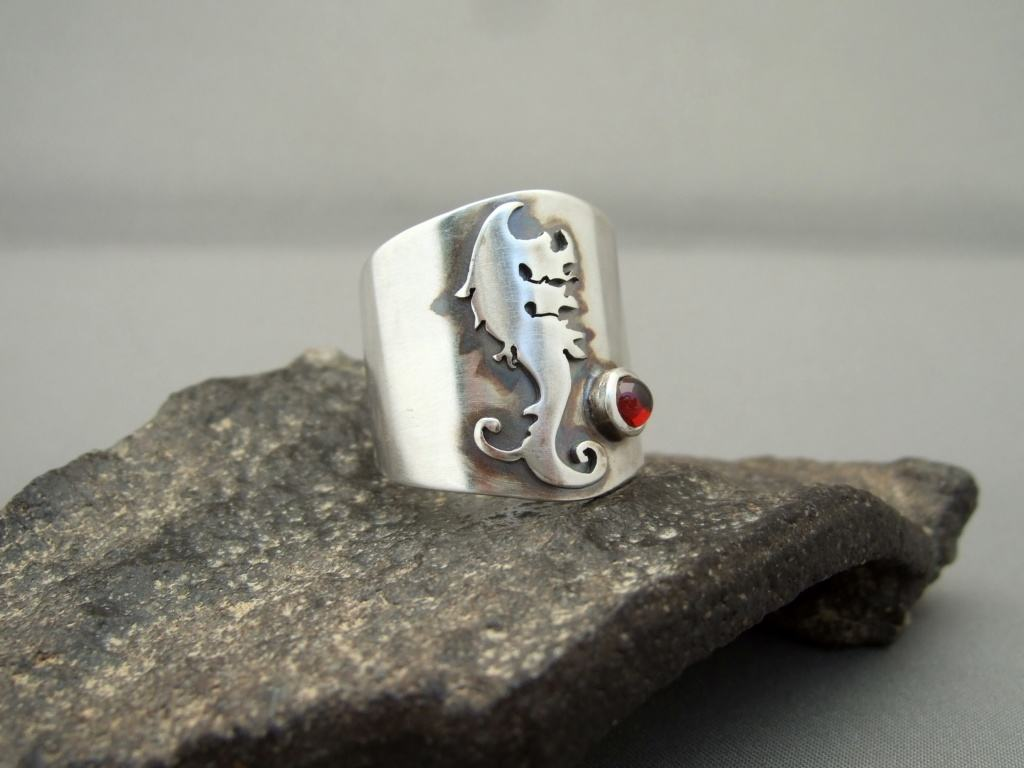 Sterling Silver and Garnet Family Crest Ring