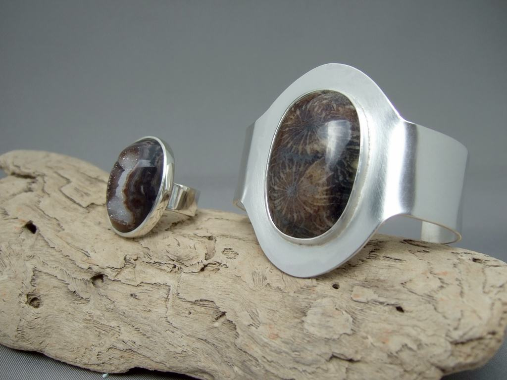 Sterling Silver Drusy Ring and Petoskey Cuff Set