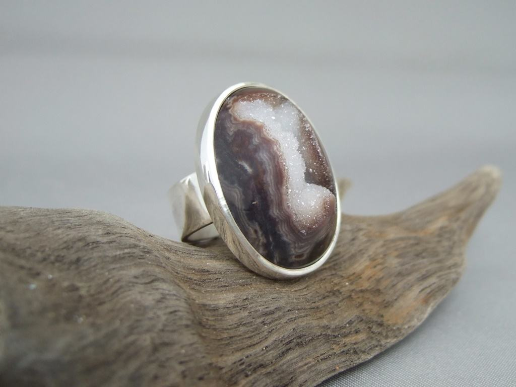 Brown and White Drusy Agate and Sterling Silver Ring