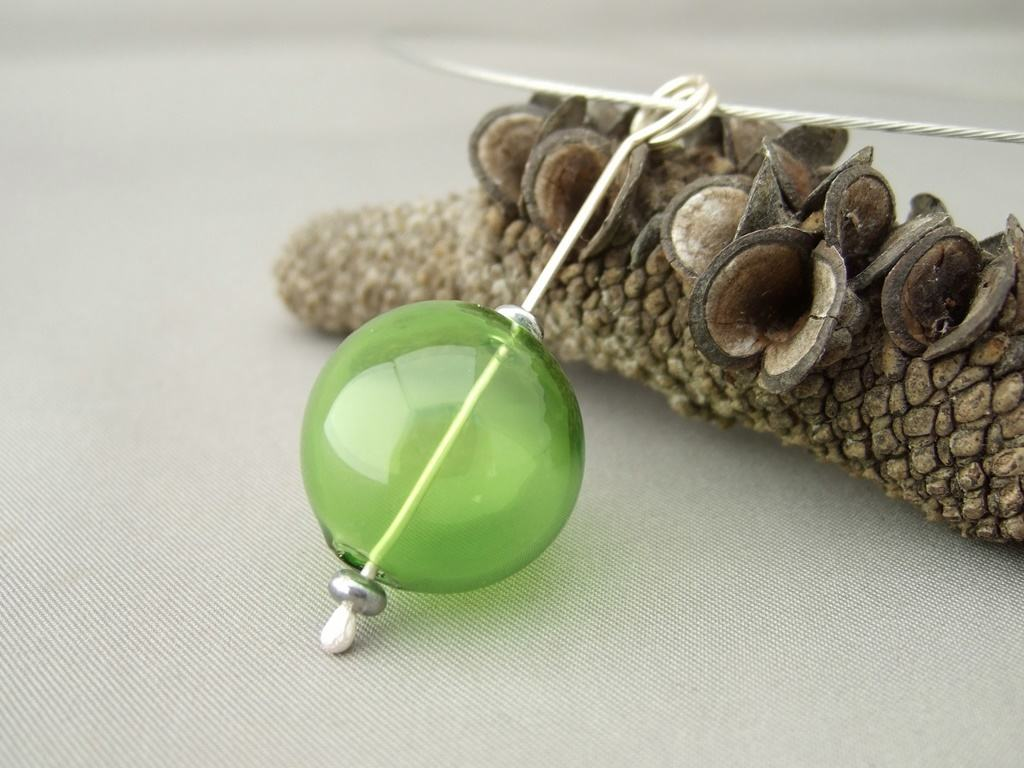 Green Handblown Glass Bubble and Sterling Silver Pendant