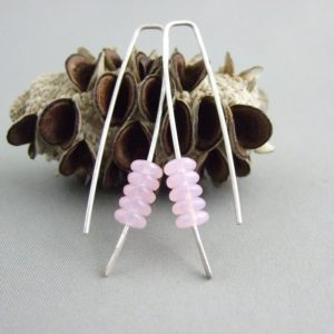 Pearly Pale Pink Stacked Earrings