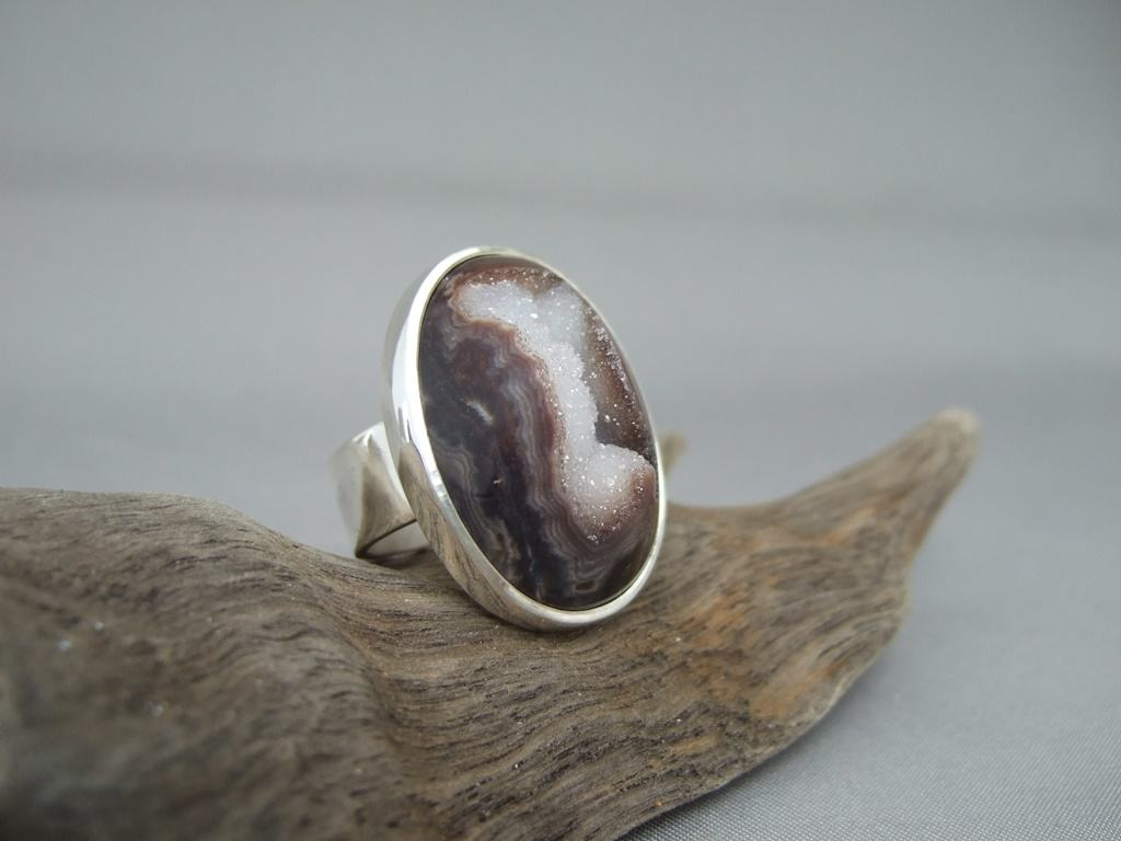 Brown Drusy Agate and Sterling Silver Ring