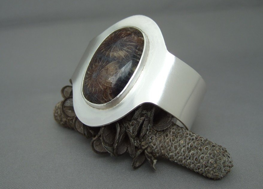 Petoskey Stone and Sterling Silver Cuff Bracelet