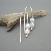 Pearly White Sparkly Czech Glass and Sterling Silver Contempary Dangle Earrings
