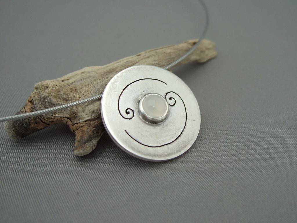 Cancer Moonstone and Sterling Silver Zodiac Pendant