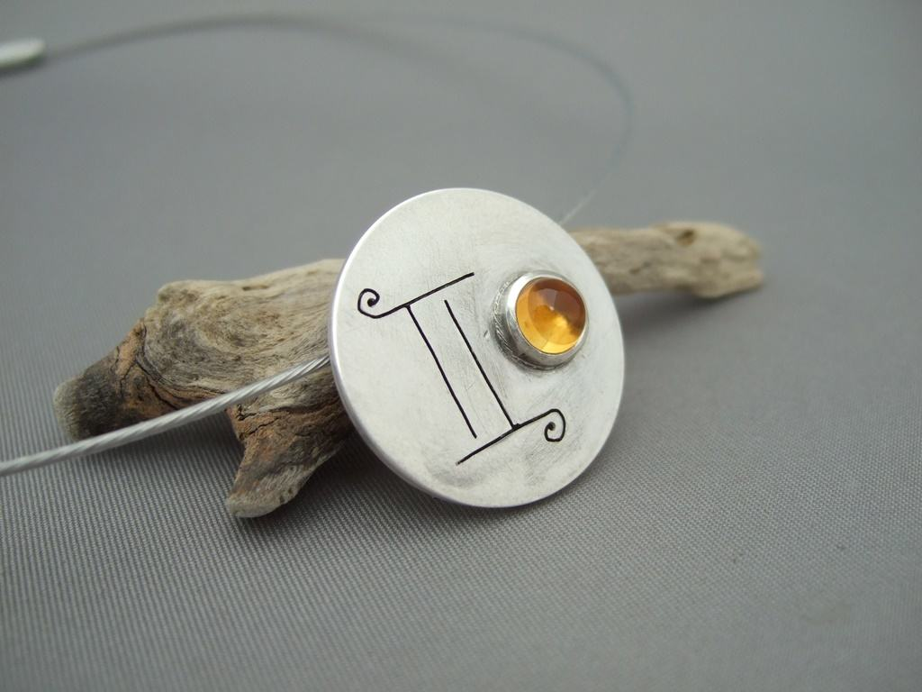 Gemini Citrine and Sterling Silver Zodiac Pendant