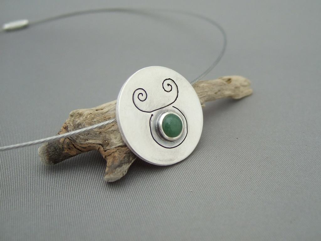 Taurus Aventurine and Sterling Silver Zodiac Pendant