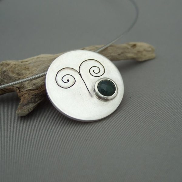 Aries Zodiac Symbol Bloodstone and Sterling Silver Pendant