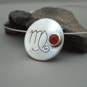 Virgo Carnelian and Sterling Silver Zodiac Pendant