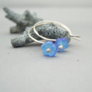 Small Blue Forget-Me-Not Flower Czech Glass and Sterling Silver Hoop Earrings