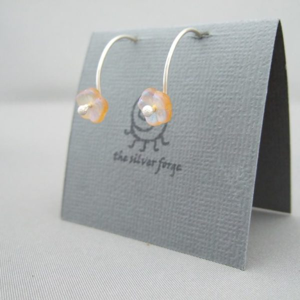 Small Yellow Forget-Me-Not Flower Czech Glass and Sterling Silver Hoop Earrings