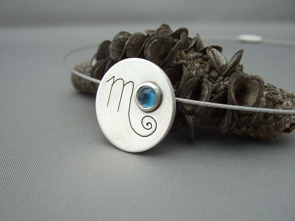 Scorpio Blue Topaz and Sterling Silver Zodiac Pendant