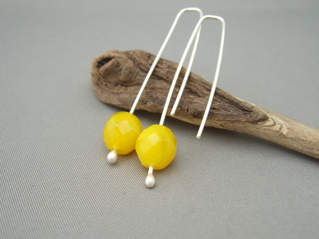 Sunshine Yellow Faceted Czech Glass and Sterling Silver Earrings