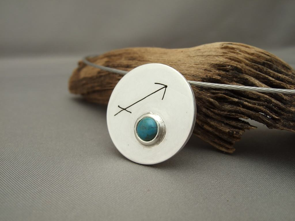 Sagittarius Turquoise and Sterling Silver Zodiac Pendant