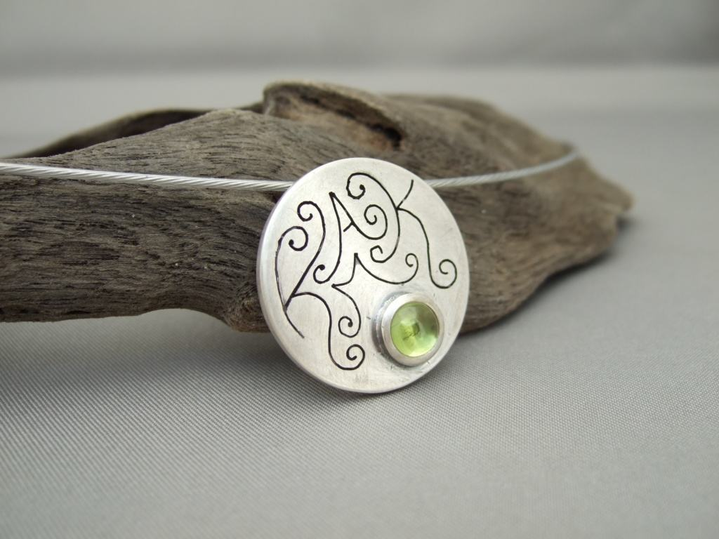 Peridot and Sterling Silver Family Initials Pendant