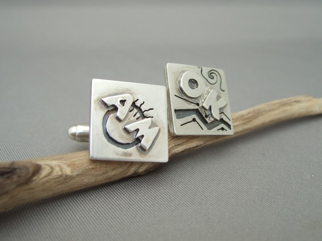 AMOK Atoms for Peace Sterling Silver Cufflinks