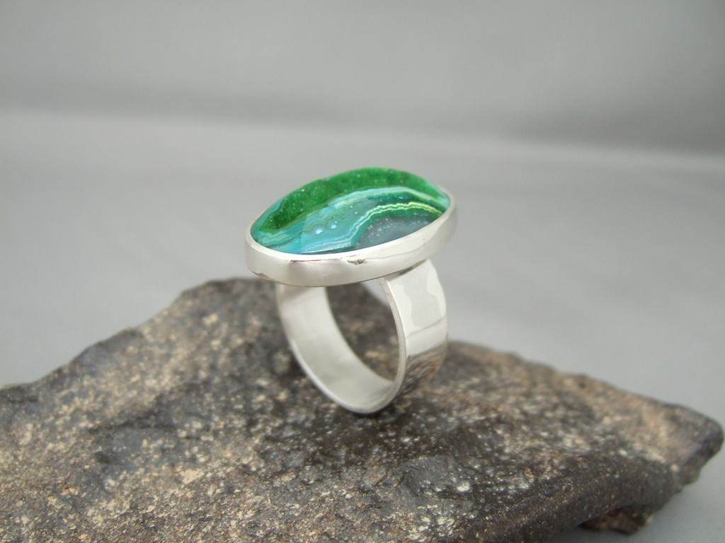 Bright Green Drusy Agate and Sterling Silver Ring