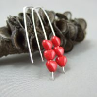 Tiny Red Heart Czech Glass and Sterling Silver Earrings