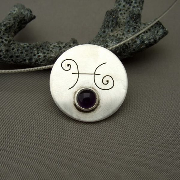 Pisces Amethyst and Sterling Silver Zodiac Pendant