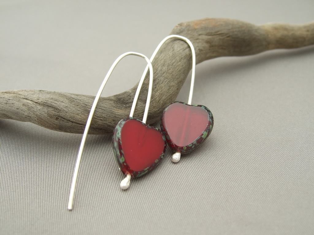 Carmine Red Heart Czech Glass and Sterling Silver Earrings