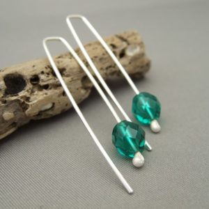Crème de Menthe Czech Glass and Sterling Silver Modern Earrings