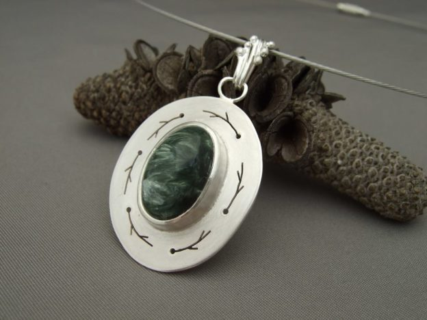 Seraphinite and Sterling Silver Pendant