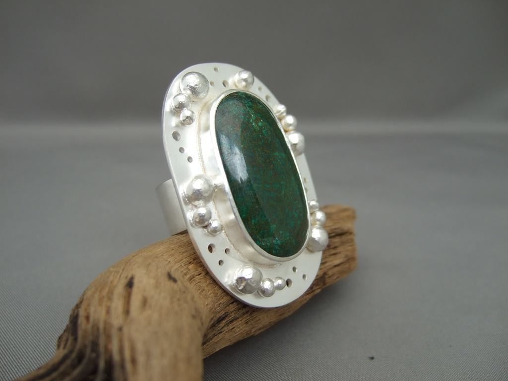 Chrysocolla and Granulated Sterling Silver Ring